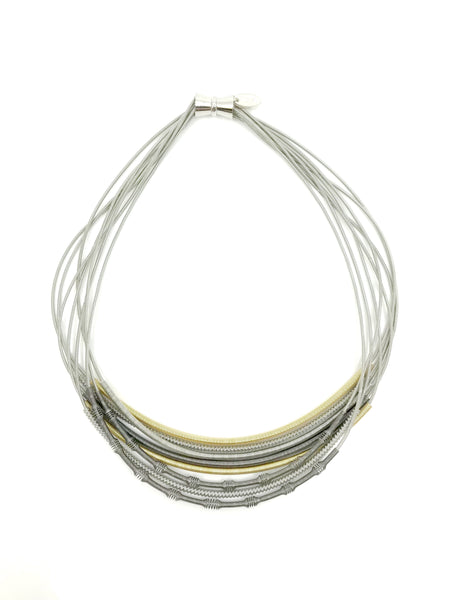 Piano Wire Necklace with Textured Sliding Sleeves
