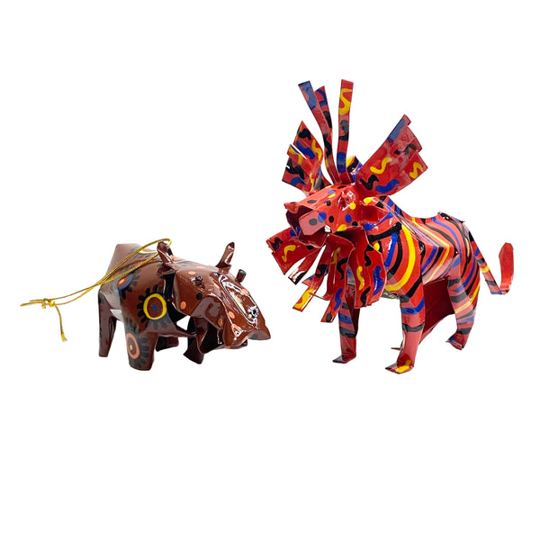 Lion and Warthog Recycled Tin Ornaments