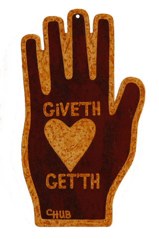 """Give'th . . . Get'th"" Heart-in-Hand Wall Tin"