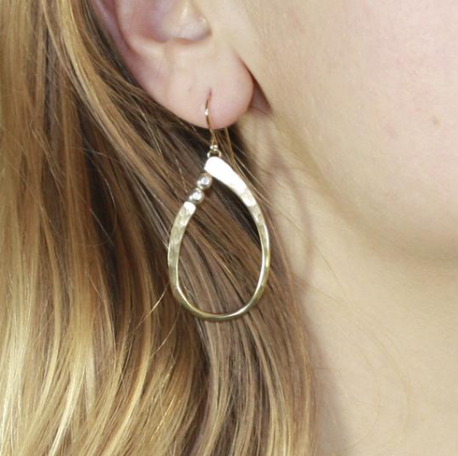 Oval Ring Earring with Beads