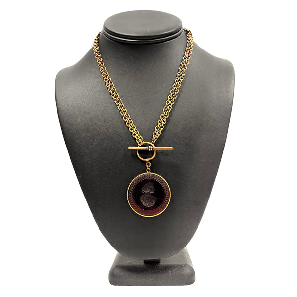 Marsala Round Intaglio Necklace