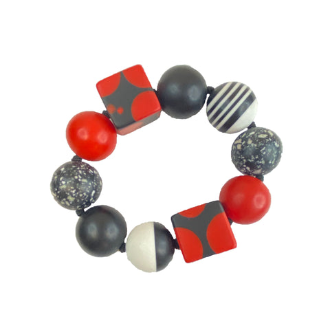 Red, Black and White Round and Square Bracelet