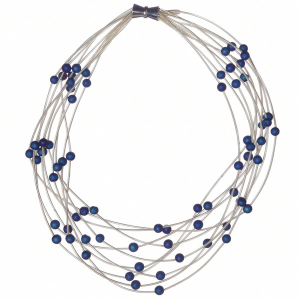 10 Layer Piano Wire Necklace with Blue Geodes