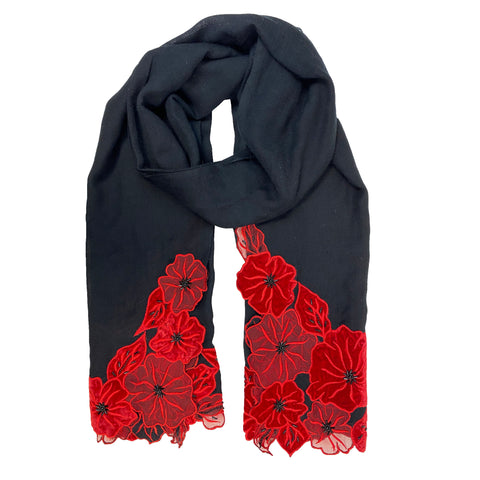 Black Shawl with Red Flowers