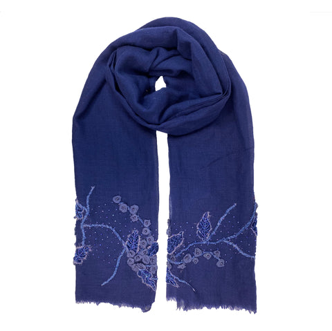 Blue Floral Beaded Scarf