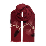 Red Scarf with Leaf Design