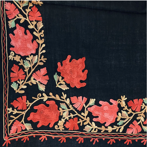 Taj Embroidered Wool Shawl