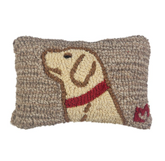 Begging Yellow Lab - Hooked Wool Pillow