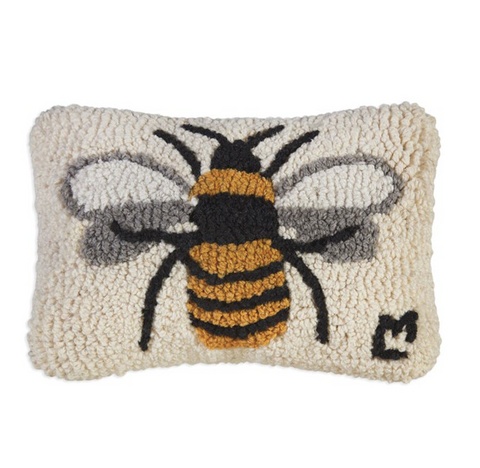 Lone Bee - Hooked Wool Pillow