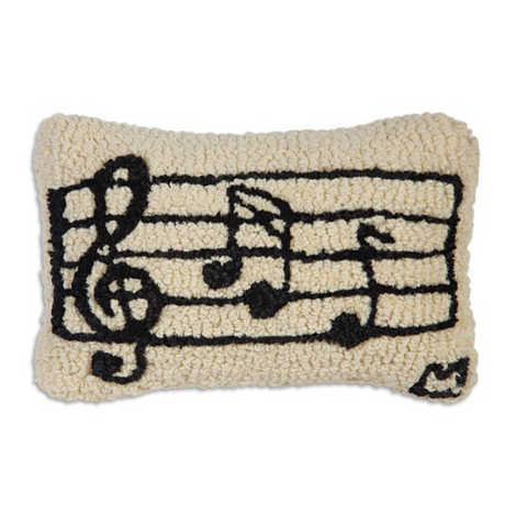Musical Notes - Hooked Wool Pillow