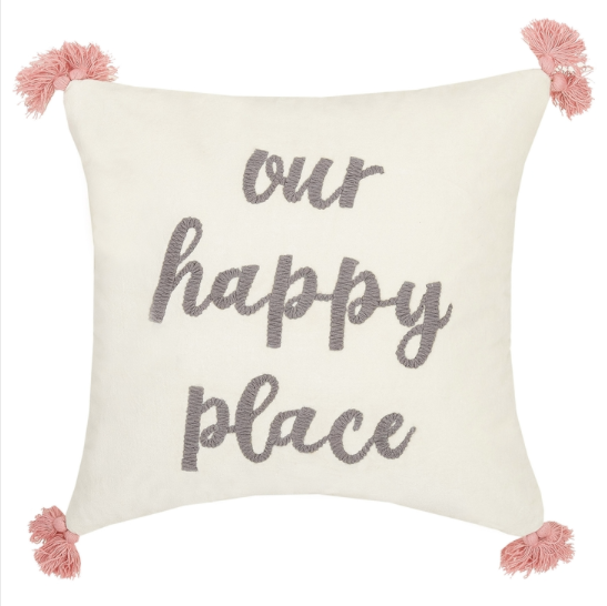 Our Happy Place Tassels Embroidered Pillow