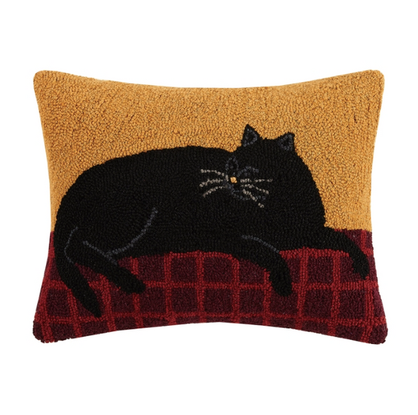 Dozing Black Tabby Cat Hook Pillow