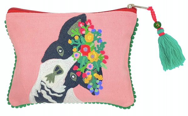 Embroidered Floral Dog Zip Pouch