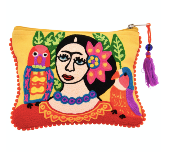 Embroidered Frida with Bird Zip Pouch