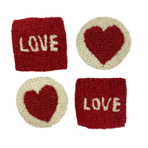 Love and Heat set of Four Wool Coasters