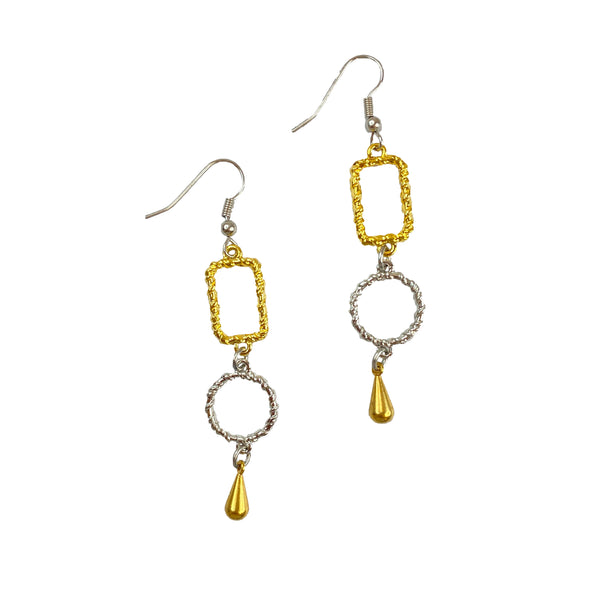 Silver and Gold Plated Shaped Earring with Drop