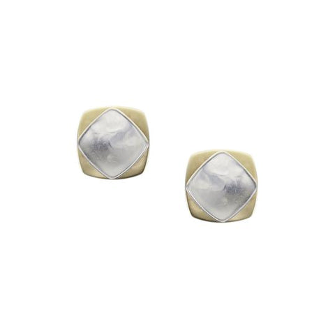 Stacked Rounded Squares Post Earring