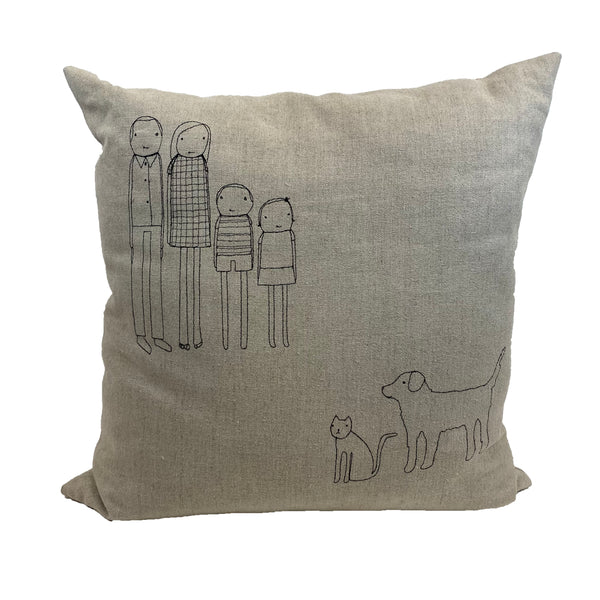 Stitched Family with Pets Pillow