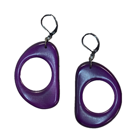 Thick Round Tagua Nut Earrings