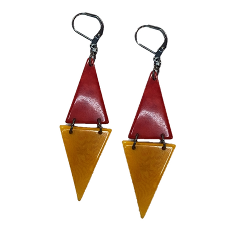 Double Triangle Tagua Nut Earrings