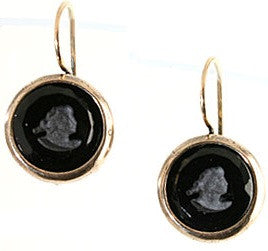 Round Jet Intaglio Earrings