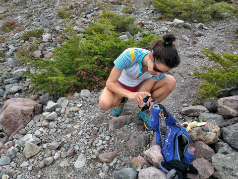 Maria Dalzot stays hydrated and replaces electrolytes on the trail