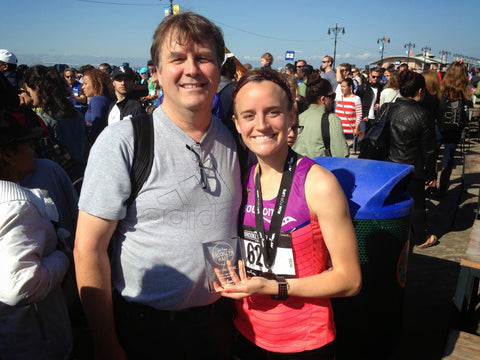 Elite Runner and 3rd Place Brooklyn Marathon Finisher Post Race with Dad