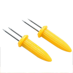 2PCS Corn On The Cob Holders Stainless Steel BBQ Prongs Skewers Forks Party Kitchen Accessories Kitchen Tool For BBQ Barbecue