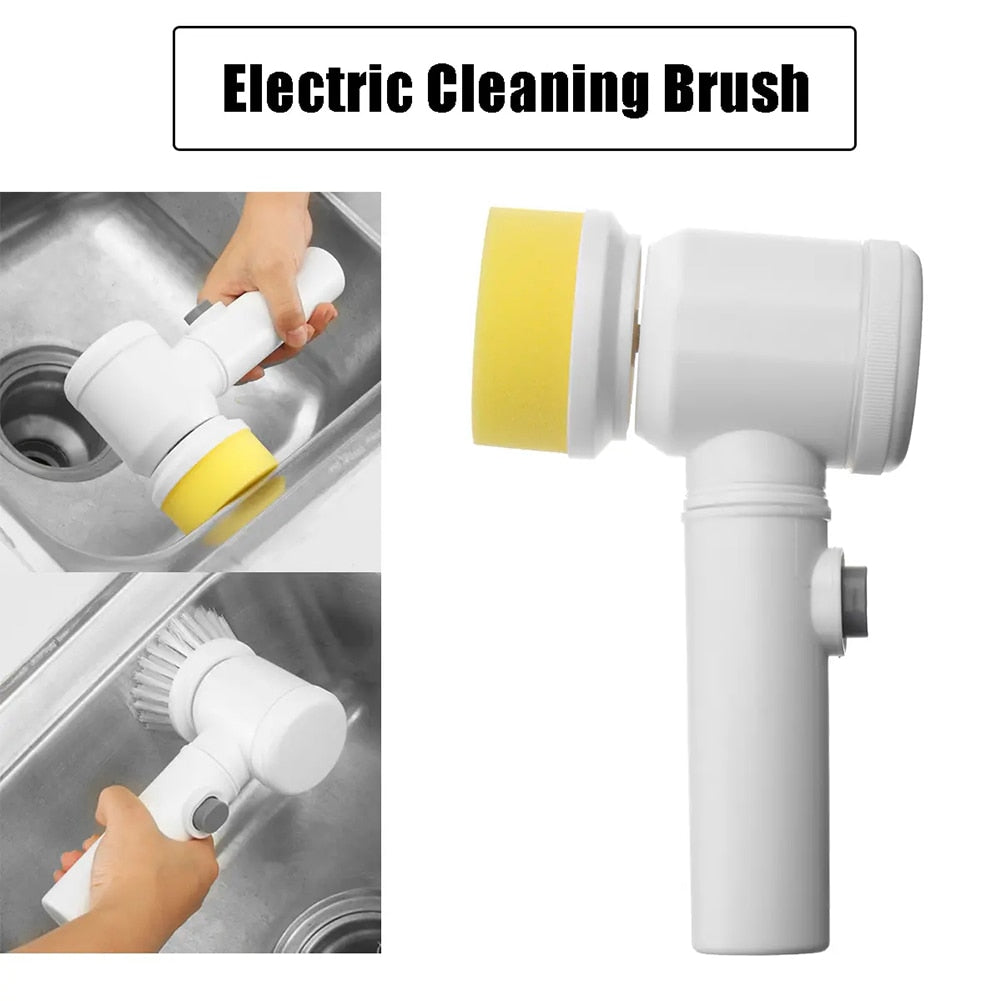 5in1 Handheld Electric Cleaning Brush for Bathroom Toile and Tub Brush Rags Kitchen Washing Brush Basins Cleaning Dropshipping
