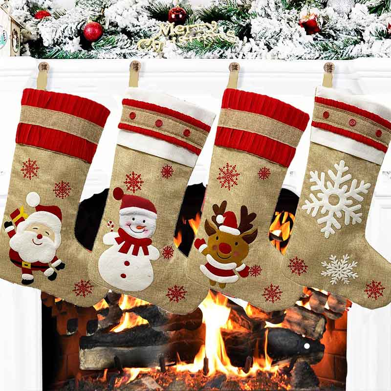 2020 New Hot Sale Christmas Ornaments Linen Embroidered Christmas Stocking Gift Bag Christmas Decoration Pendant