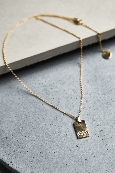 Gold Aquarius Zodiac Necklace