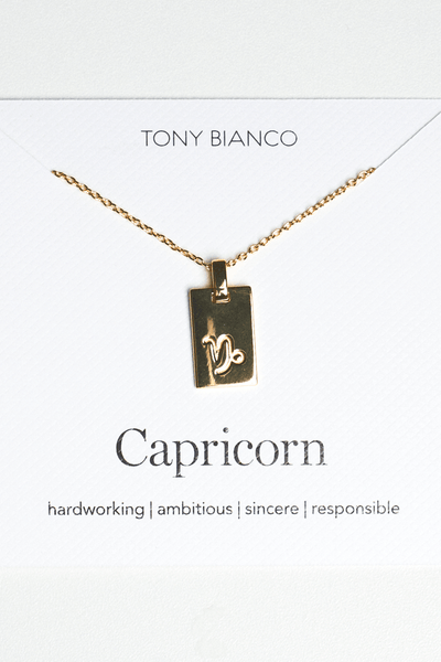 Gold Capricorn Zodiac Necklace