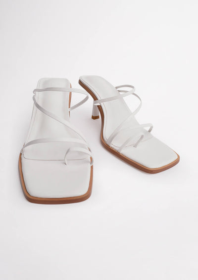 Danni White Sheep Nappa Heels