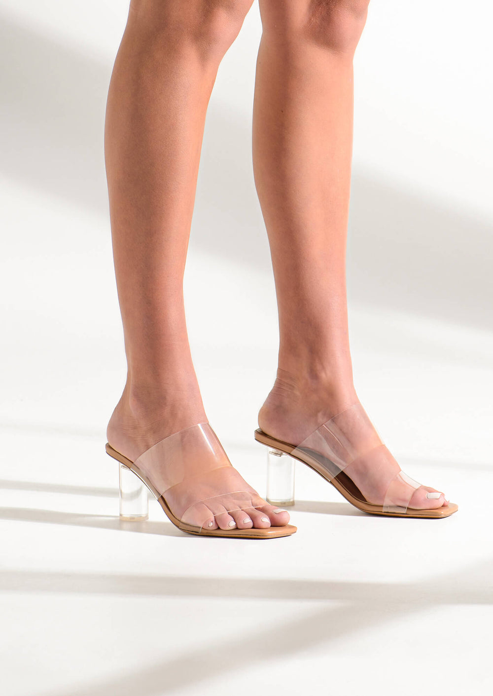 Sabelle Clear Vynalite/Skin Capretto Heels