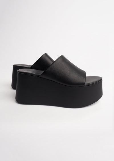 Tegan Black Sheep Nappa Wedges
