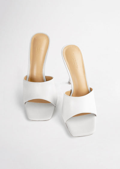 Flora White Sheep Nappa Heels