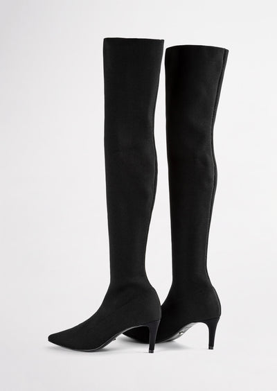 Gracie Black Sock Knit Long Boots