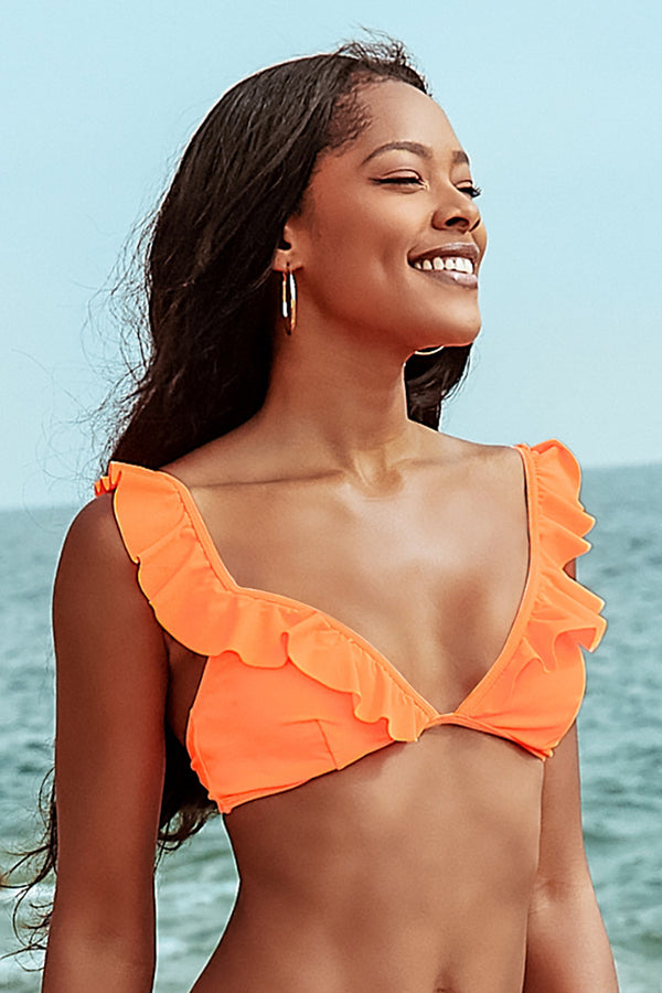 Haut de bikini à volants orange fluo