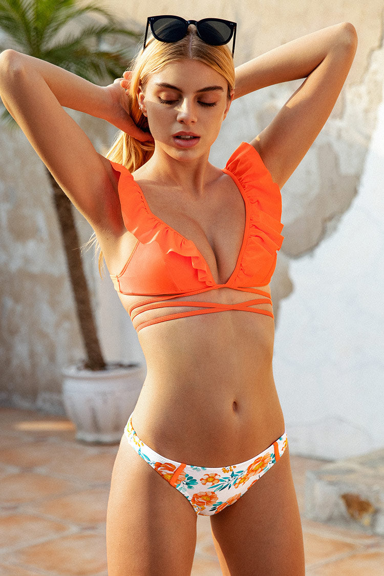 Haut de bikini épaules à volants orange