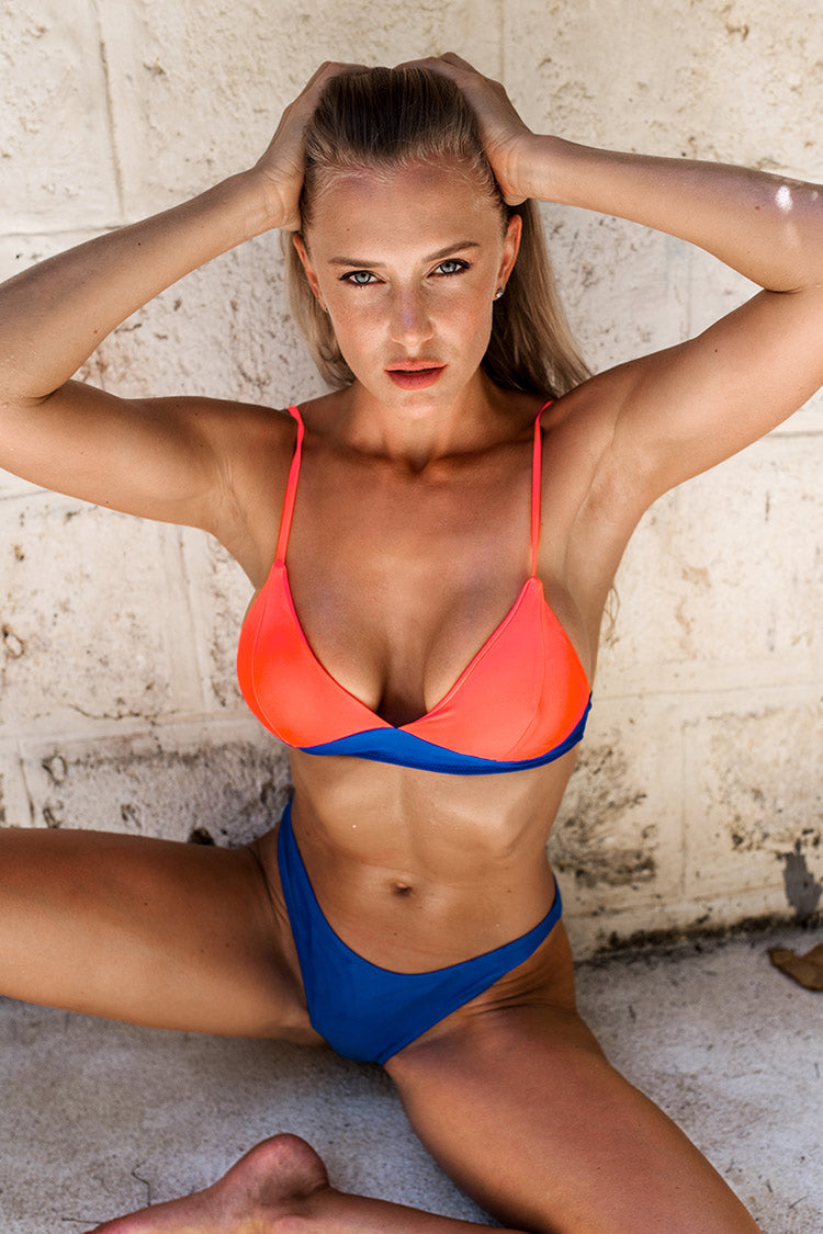Bikini triangle orange et bleu Cupshe