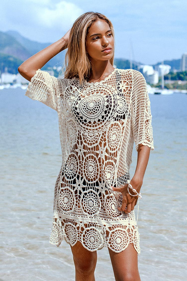 Cover up col en V blanc Boho