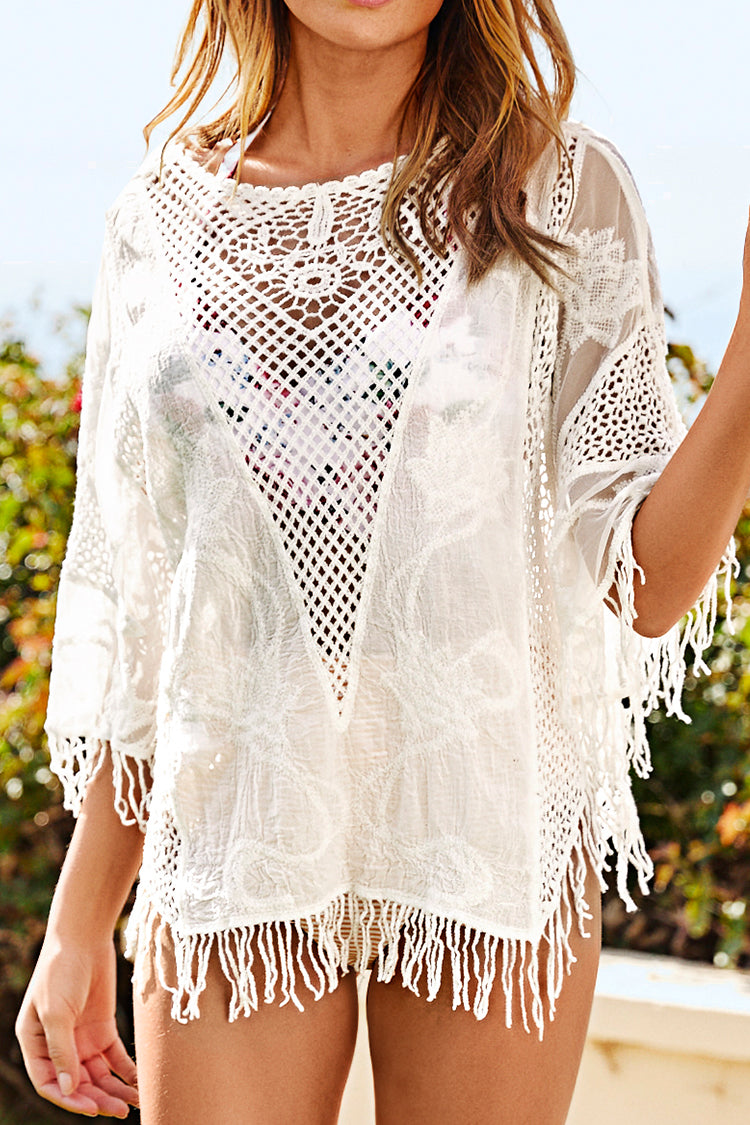 Crochet à frange Cover Up Blanc
