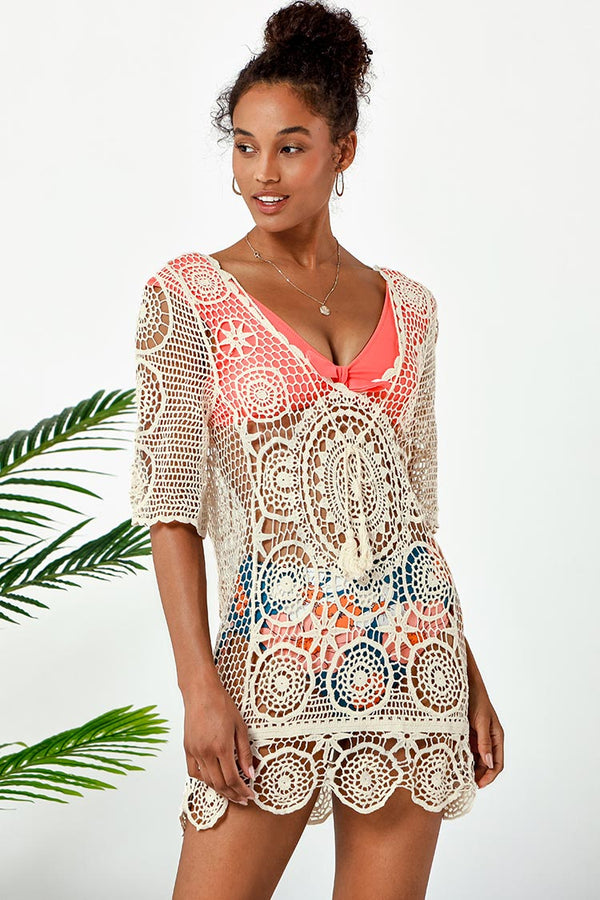 Cover up col en V blanc Boho Cupshe