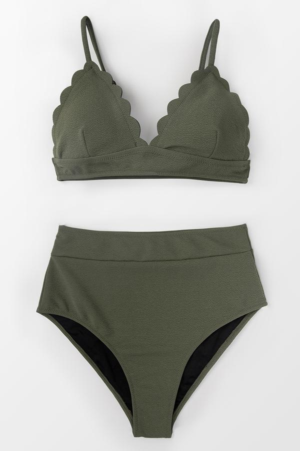 Bikini taille haute à bordure de vague