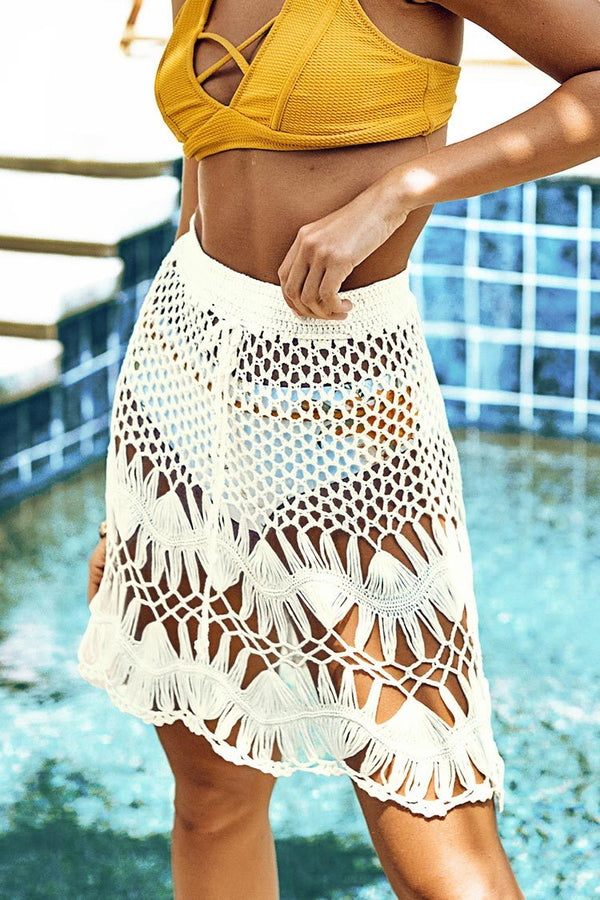 Cover Up Jupe en crochet blanc