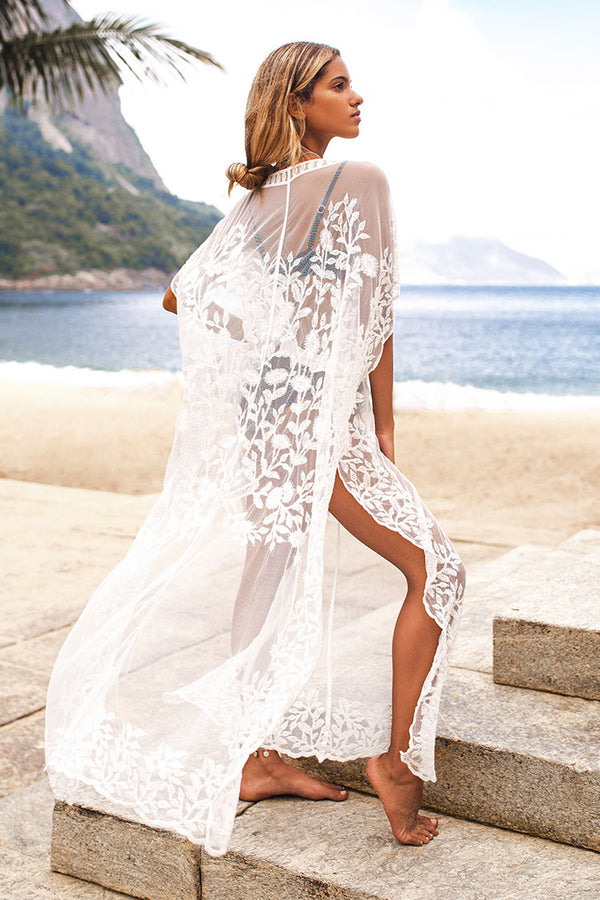Cover up caftan de plage en broderie
