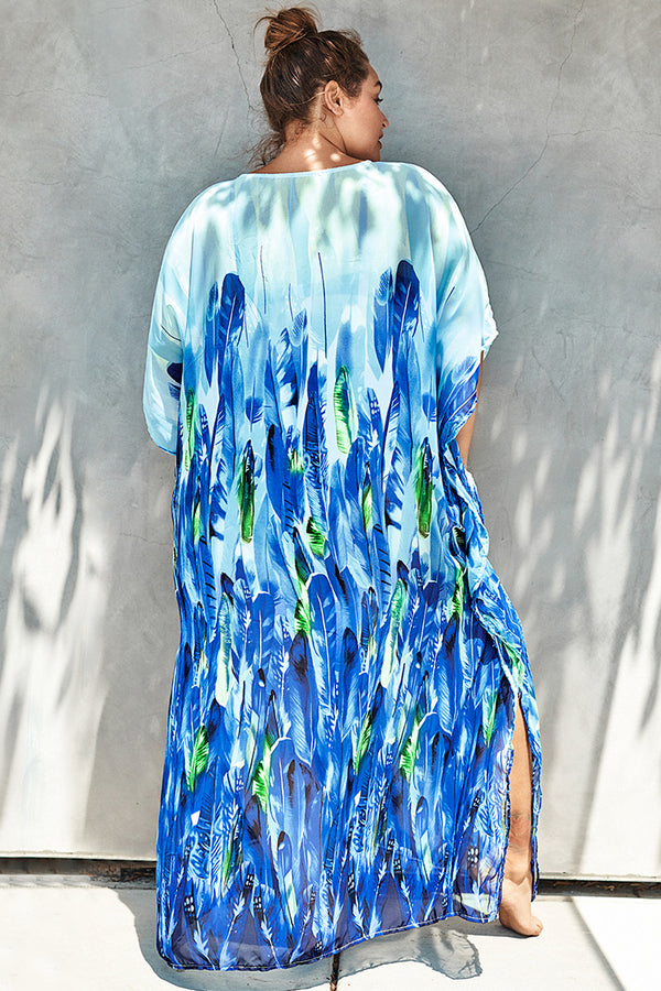 Cover up grande taille imprimé plumes bleues Cupshe