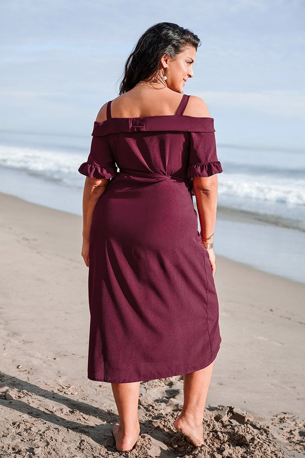 Robe portefeuille rouge grande taille Cupshe