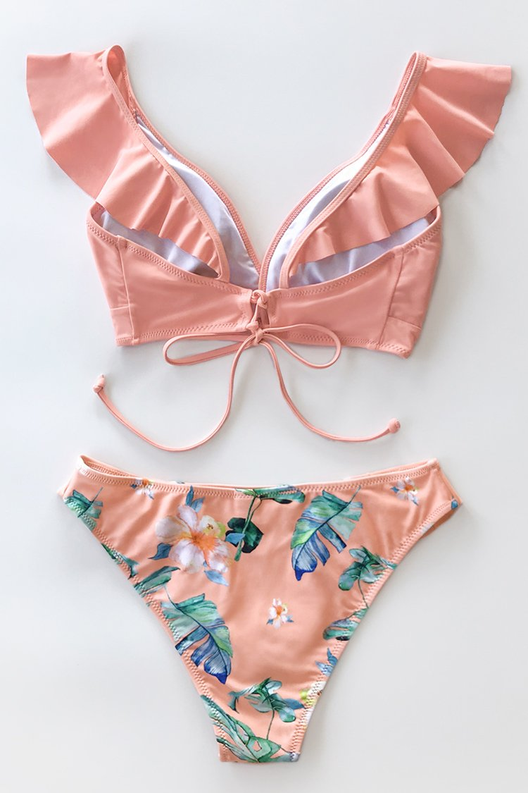 Bikini à volants rose tropical