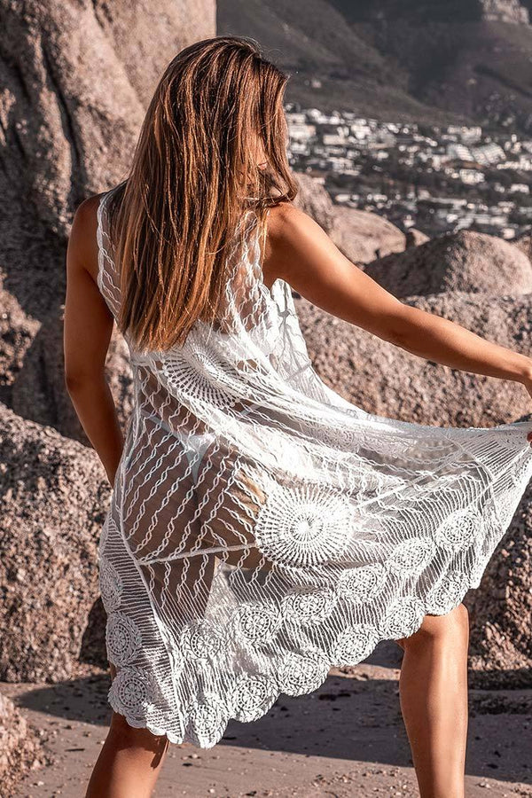 Cover up haut-bas en crochet blanc